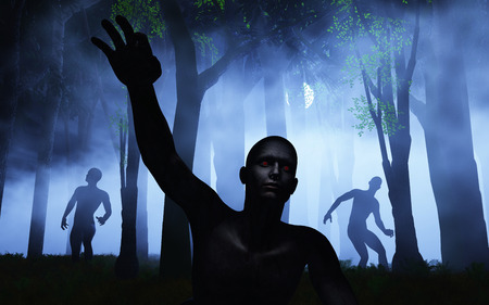 spooky forest: 3D render of zombies in a foggy spooky forest Stock Photo