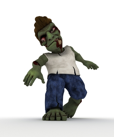 flesh: 3D Render of a Cartoon Zombie Character Stock Photo