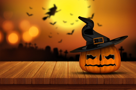 defocussed: 3D render of a Halloween pumpkin on a wooden table with a defocussed spooky graveyard image in the background