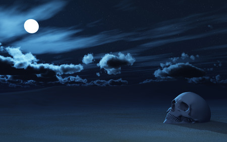 partially: 3D render of a skull partially buried in sand against night sky Stock Photo