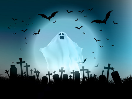 Halloween landscape with ghostly figure and cemetery 版權商用圖片 - 46037696