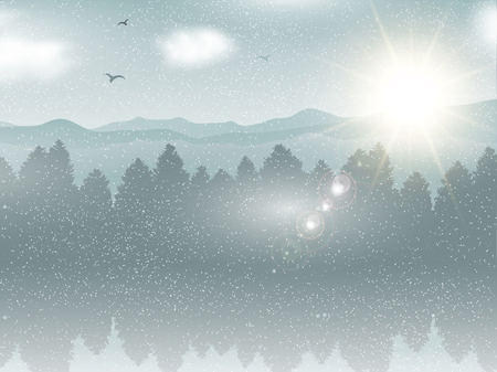snowy: Snowy winter landscape background with birds flying in the sky Stock Photo