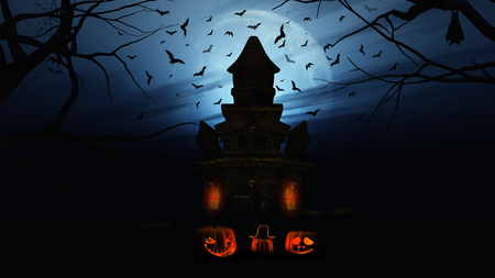 haunting: 3D render of a Halloween background with pumpkins and spooky castle Stock Photo