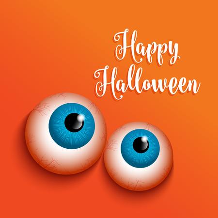 haunting: Halloween background with weird eyes design