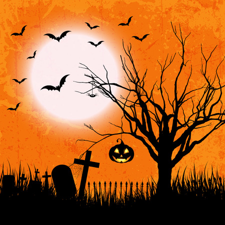haunting: Grunge style Halloween background with bats, jack o lantern and owl