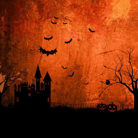 haunted: Detailed orange grunge Halloween background with haunted house
