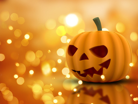 3d halloween: 3D Halloween pumpkin on an orange bokeh lights background