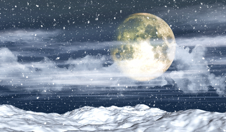 snowy landscape: 3D snowy landscape with moon and snowflakes