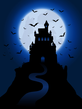 graves: Halloween background with spooky haunted house Stock Photo