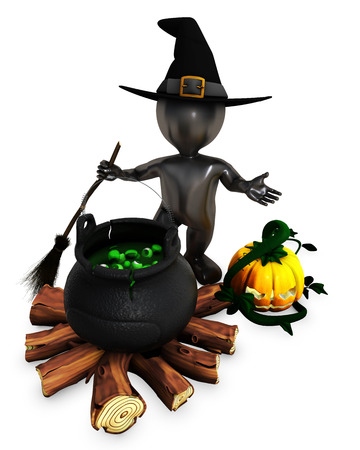 3d witch: 3D Render of Morph Man Witch with pumpkins
