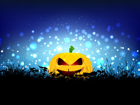 nestled: Halloween background with pumpkin nestled in grass Stock Photo