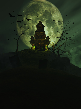 horror: 3D Halloween background with a haunted castle and bats in the sky Stock Photo