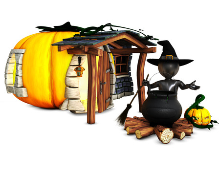 morph: 3D Render of Morph Man Witch with pumpkins