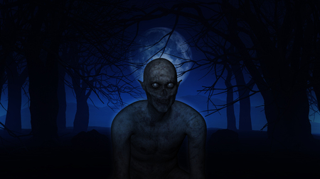 fog forest: 3D render of an evil demonic figure in spooky Halloween woods Stock Photo