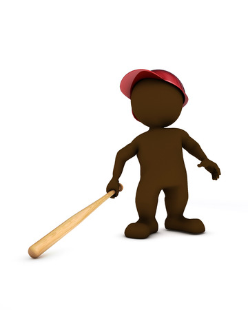 baseball swing: 3d render of morph man playing baseball