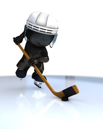 pass on: 3D Render of Morph Man ice hockey Stock Photo