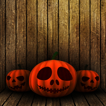 haunting: 3D render of grunge Halloween jack o lanterns on a wooden background
