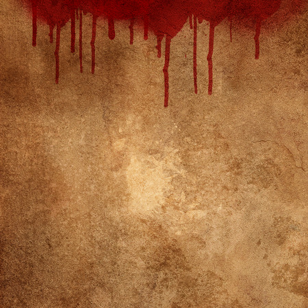 3d  background: Bloody splats and drips on a grunge background