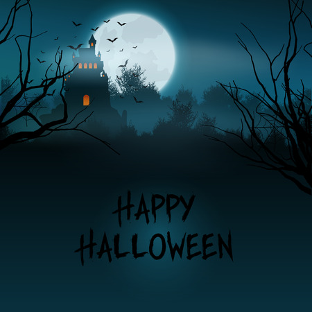 haunted: Halloween landscape with spooky castle