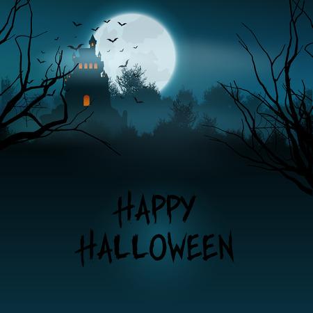 spooky graveyard: Halloween landscape with spooky castle