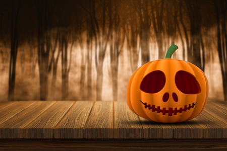 defocussed: 3D render of a Halloween pumpkin on a wooden table with a defocussed foggy forest in the background