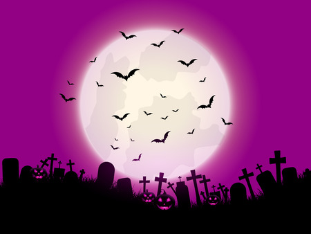 spooky graveyard: Halloween background with pumpkins and graveyard
