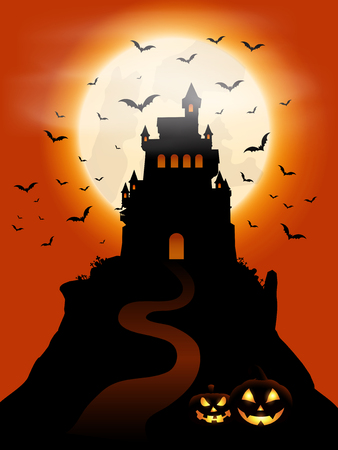 Halloween background with castle and pumpkins