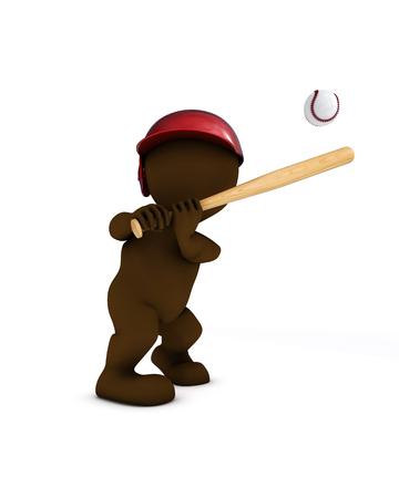 softball player: 3d render of morph man playing baseball