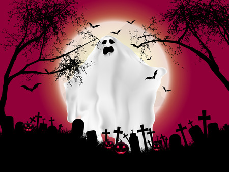 ghost: Halloween landscape with ghostly figure and cemetery