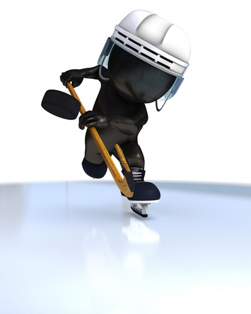 morph: 3D Render of Morph Man ice hockey Stock Photo