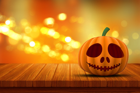 defocussed: 3D render of a Halloween pumpkin on a wooden table with a bokeh lights background Stock Photo