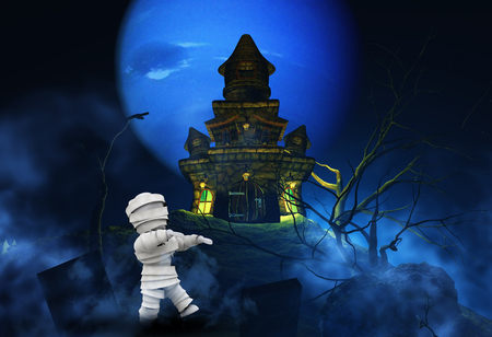 monsters house: 3D render of a Halloween background with zombie and spooky castle