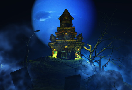 monsters house: 3D render of a Halloween background with spooky castle