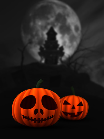 haunted: 3D render of spooky pumpkins in haunted castle landscape Stock Photo
