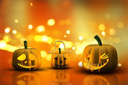 haunting: 3D render of Halloween pumpkins on a bokeh lights background
