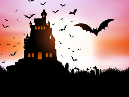 holiday house: Halloween landscape with spooky castle