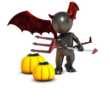 daemon: 3D Render of Morph Man Daemon with pumpkins