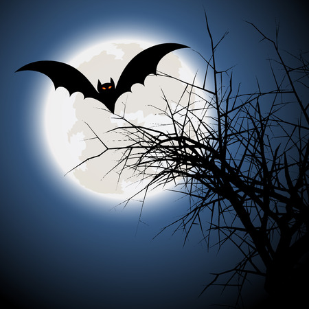 happy halloween: Halloween background with bat and spooky tree
