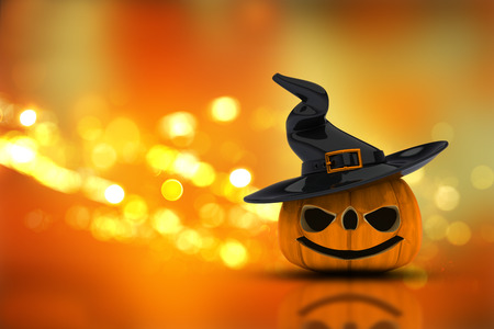 haunting: 3D render of a Halloween pumpkin in a witches hat on a bokeh lights background
