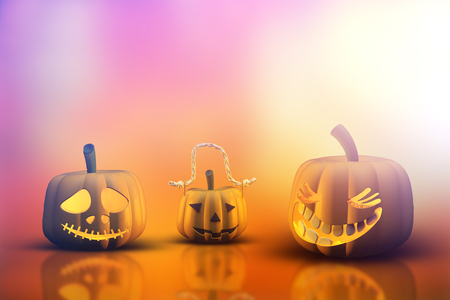 haunting: 3D render of Halloween pumpkins