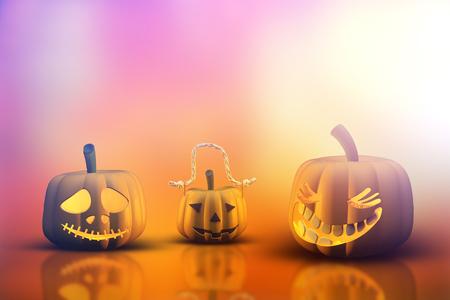calabazas de halloween: Procesamiento 3D de calabazas de Halloween Foto de archivo