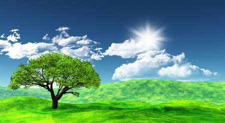 sunny: 3D landscape with a tree against a blue sunny sky with fluffy white clouds