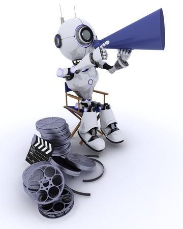 chrome man: 3D Render of a Robot in directors chair with megaphone