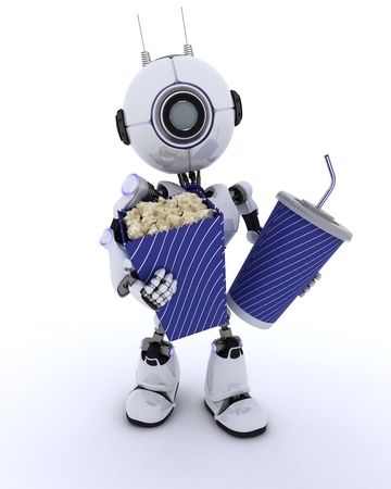 chrome man: 3D Render of a Robot with popcorn and soda Stock Photo