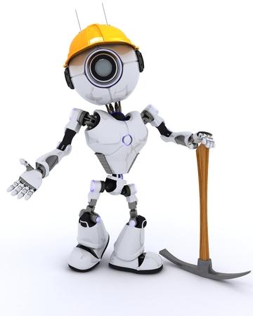 chrome man: 3D Render of a Robot Builder with a pickaxe