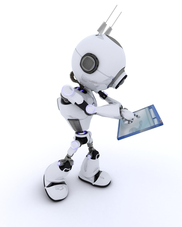 3D Render of a Robot with computer window
