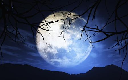 haunting: 3D render of trees against a moonlit sky