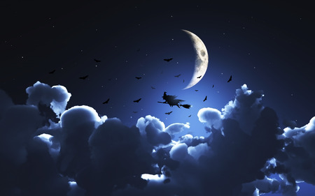 3D image of a witch flying above the moon above the clouds