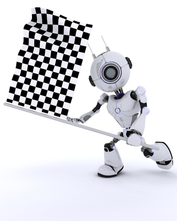 checker flag: 3D Render of a Robot with checkered flag