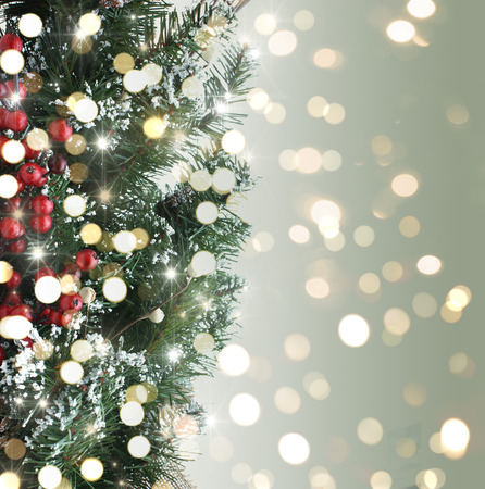 defocused: Christmas tree background with bokeh lights